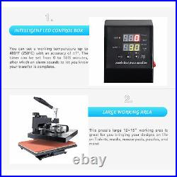 12x15 5-in-1 T Shirt Heat Press Machine for Shirt Cup Puzzle Tote Bag More