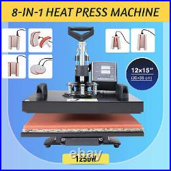 12x15 8-in-1 T-Shirt Heat Press Machine for Shirt Mask Ceramic Tiles Cup More