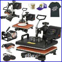 Combo Kit Sublimation Swing away 5 in 1 Heat Press Machine For T-Shirts 12x15