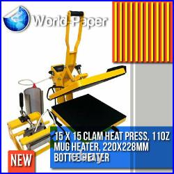 Heat Press Machine 15 x 15 Clam Shell for T-Shirts with Mug and Tumbler Maker