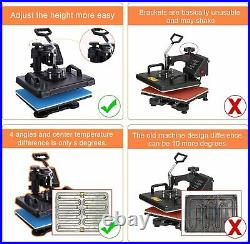 Upgraded 5 in 1 Heat Press Transfer Machine Combo Printing Sublimation + T-Shirt